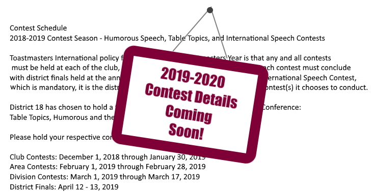 Contest Details Coming Soon